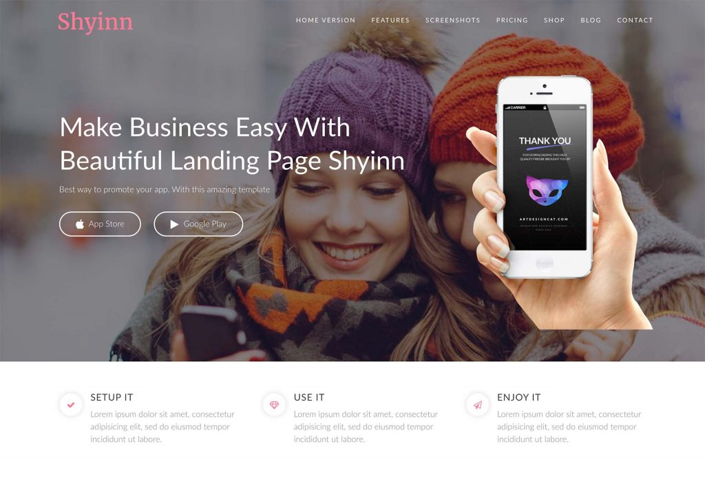 Shyinn – Free One Page App WordPress Theme